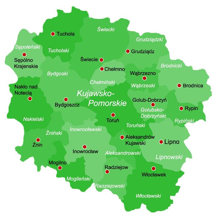 Powiaty W Polsce Mapa Powiatow Wojewodztwo Kujawsko Pomorskie