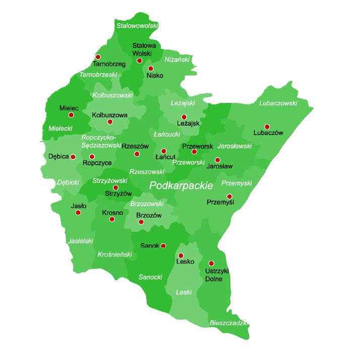 Powiaty W Polsce Mapa Powiatow Wojewodztwo Podkarpackie