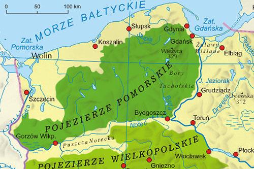 Pojezierze Pomorskie Mapa Jeziora Miasta Atrakcje Turystyczne