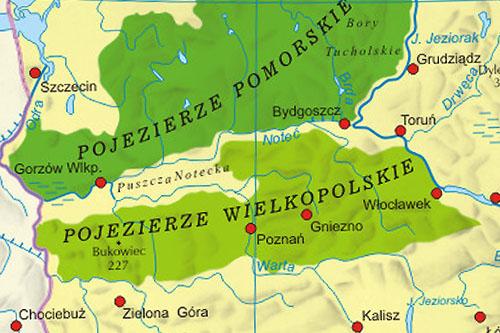 Pojezierze Wielkopolskie Mapa Jeziora Miasta Atrakcje Turystyczne